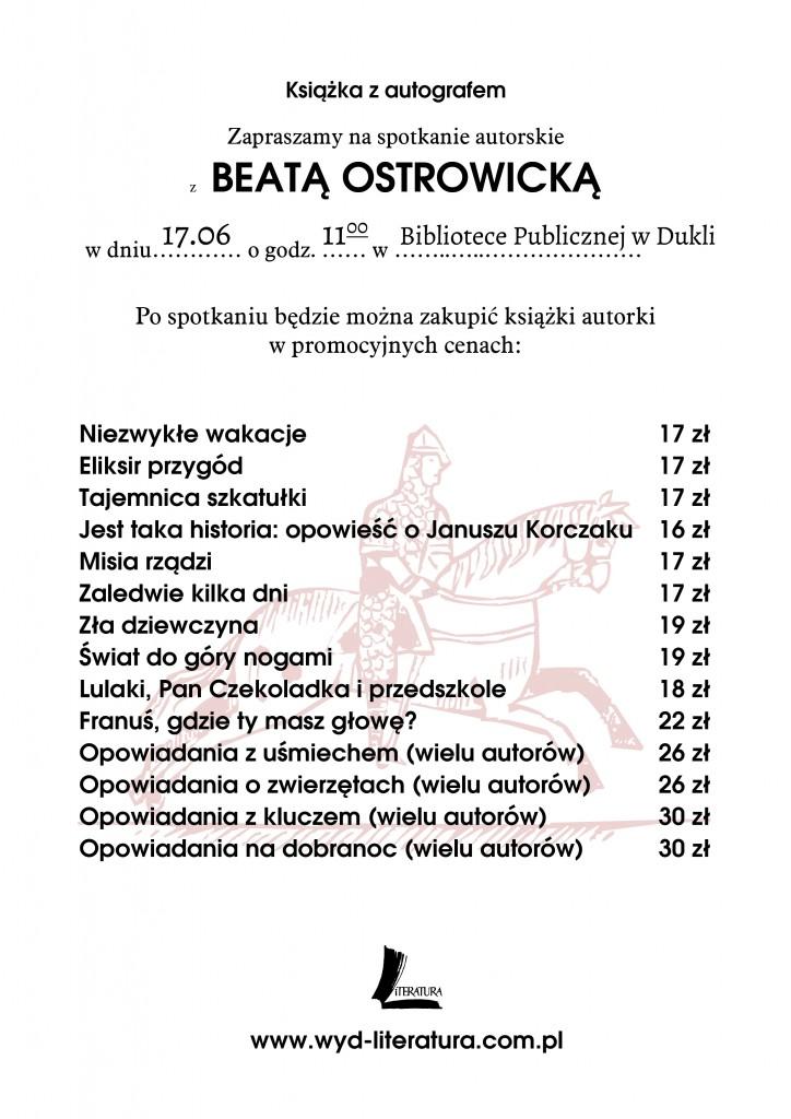 Plakat, spotkanie autorskie, Beata Ostrowicka